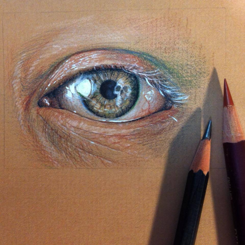 maria teicher eye study with skull maria teicher